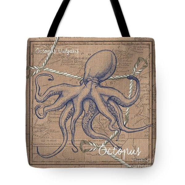 Burlap Octopus Tote Bag