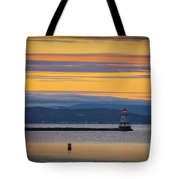 Burlington Lighthouse Sunset Tote Bag