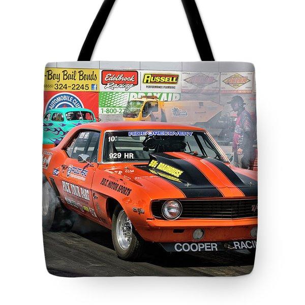 Burn Out Cooper Racing Tote Bag by John Swartz