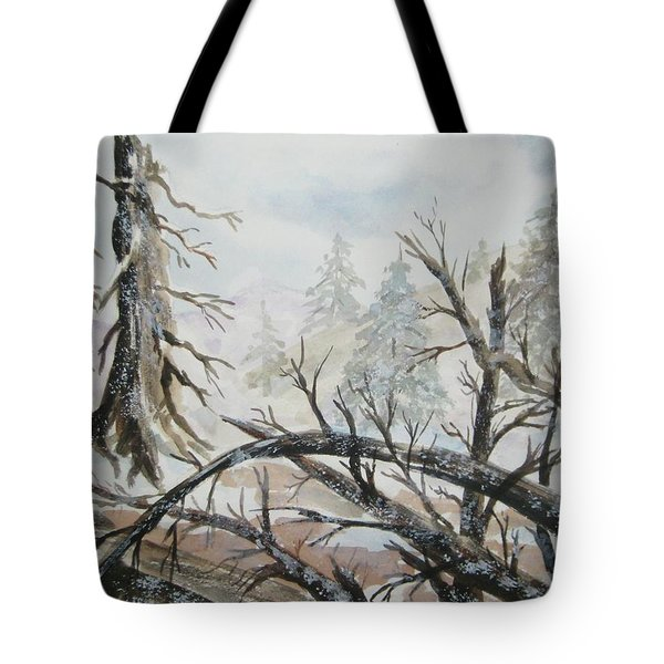 Tote Bag featuring the painting Burned Forest In The Snow by Ellen Levinson