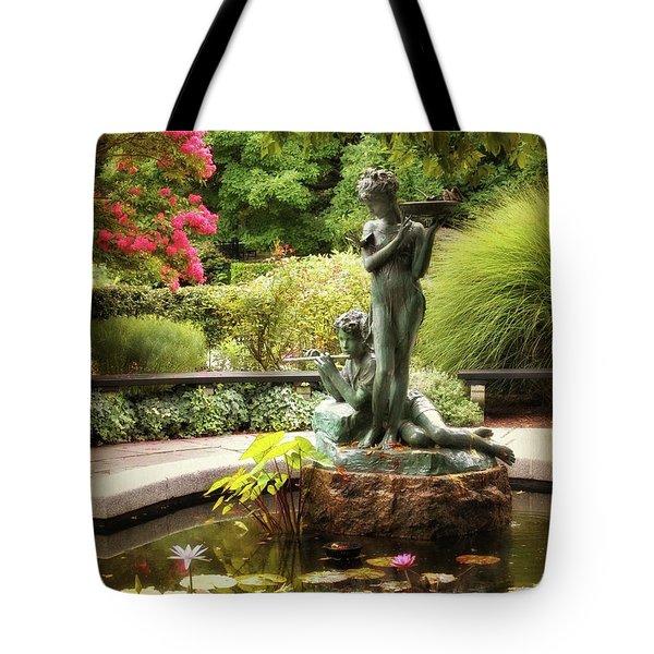 Burnett Fountain Garden Tote Bag by Jessica Jenney