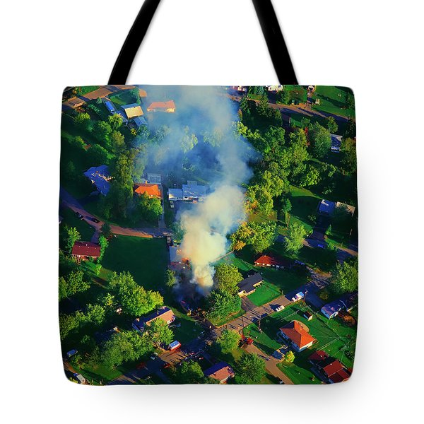 Tote Bag featuring the photograph Burnin Down The House Aerial Single Family Home On Fire  by Tom Jelen