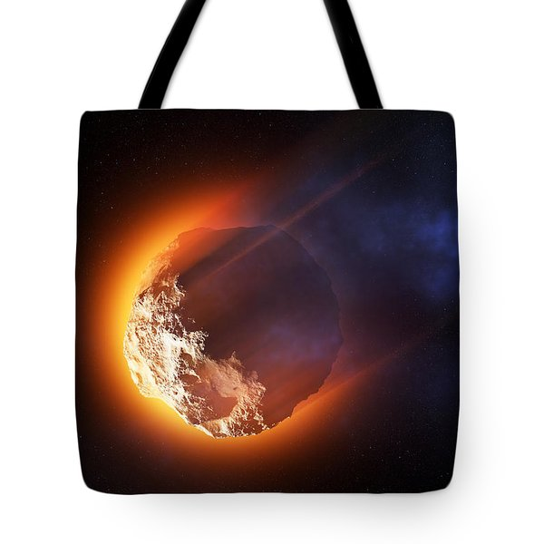 Burning Asteroid Entering The Atmoshere Tote Bag
