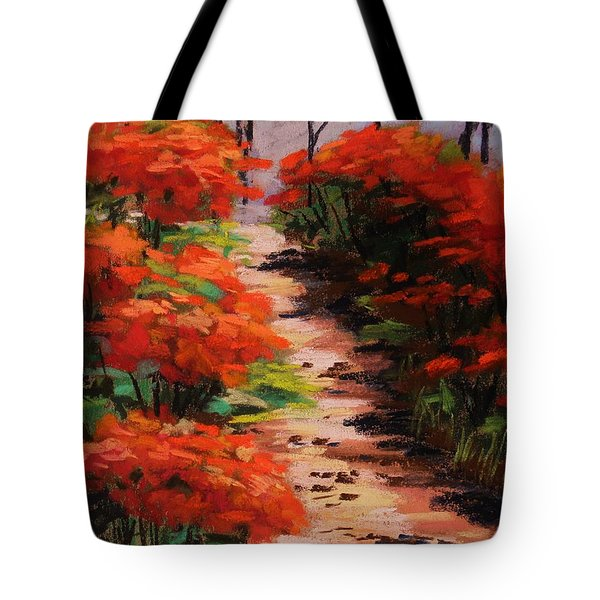 Tote Bag featuring the painting Burning Bush Along The Lane by John Williams