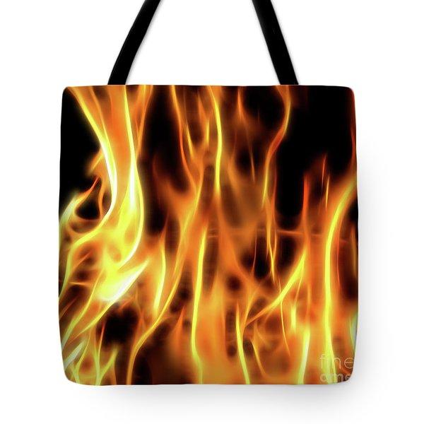 Burning Flames Fractal Tote Bag