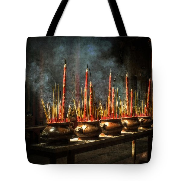 Tote Bag featuring the photograph Burning Incense by Lucinda Walter