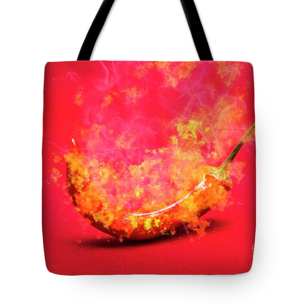 Burning Red Hot Chili Pepper. Mexican Food Tote Bag
