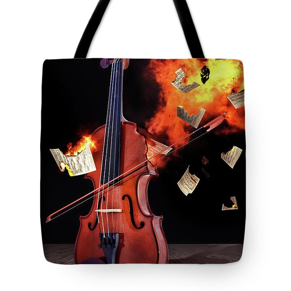 Burning With Music Tote Bag