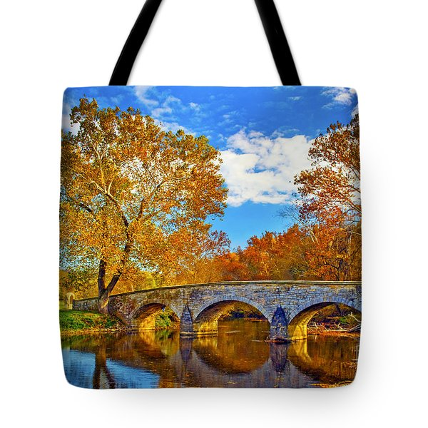 Burnside Bridge At Antietam Tote Bag by Paul W Faust -  Impressions of Light