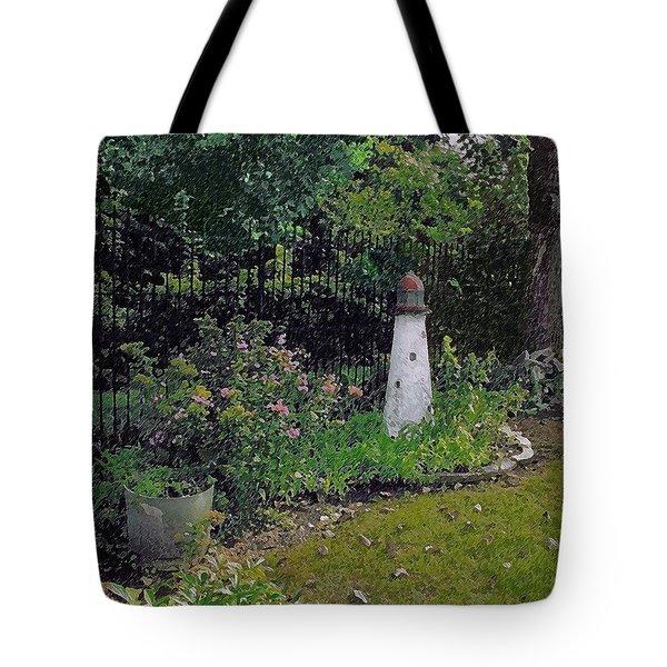 Burnside Garden Lighthouse Tote Bag by Cedric Hampton
