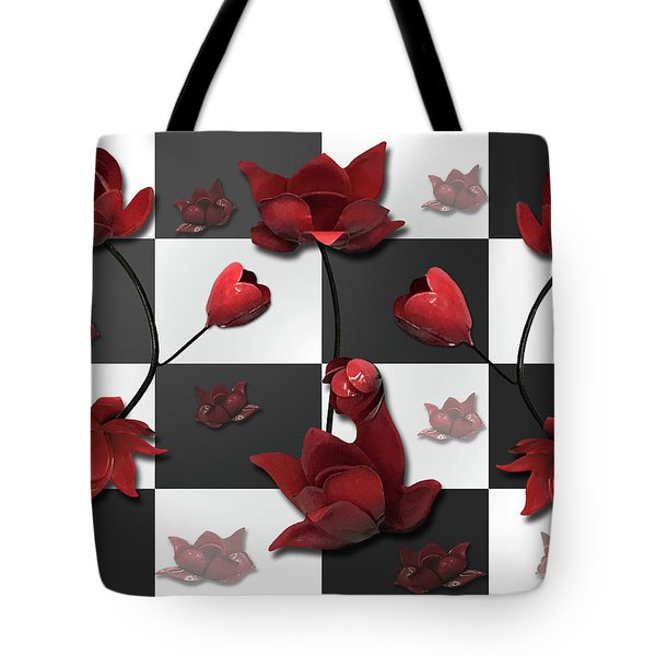 Burnt Crimson Flora Tote Bag