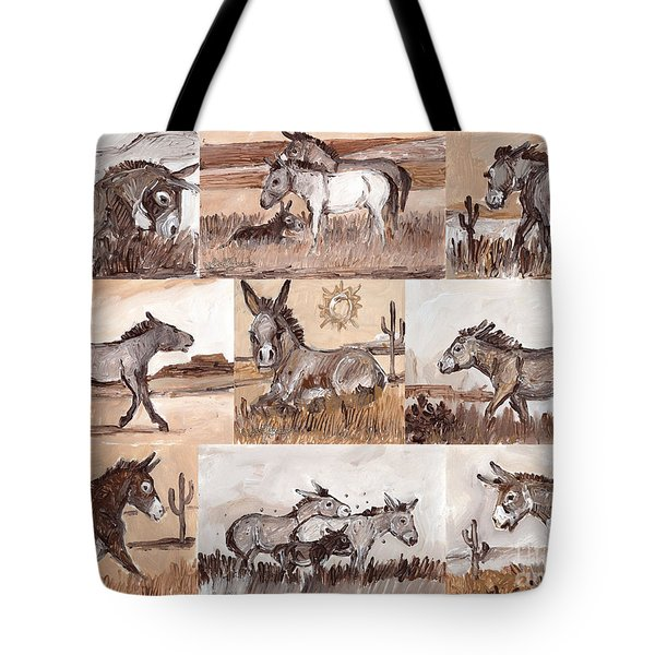 Burros Of The South West Sampler Tote Bag