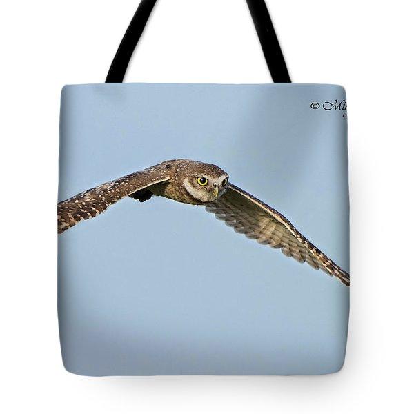 Burrowing Owl In Flight Tote Bag