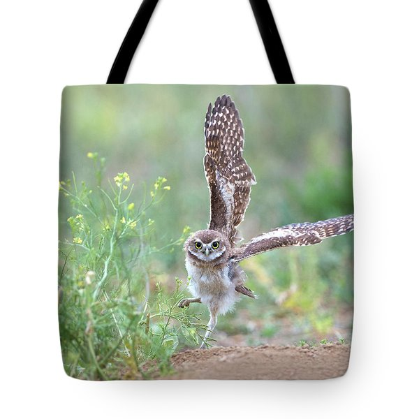 Burrowing Owl Spies Grasshopper Tote Bag