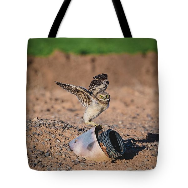 Burrowing Owlet Stretching His Wings Tote Bag