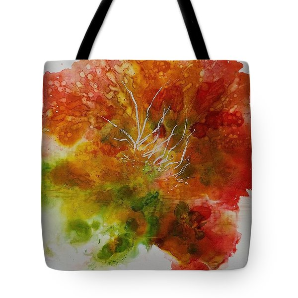 Tote Bag featuring the painting Burst Of Nature by Carolyn Rosenberger