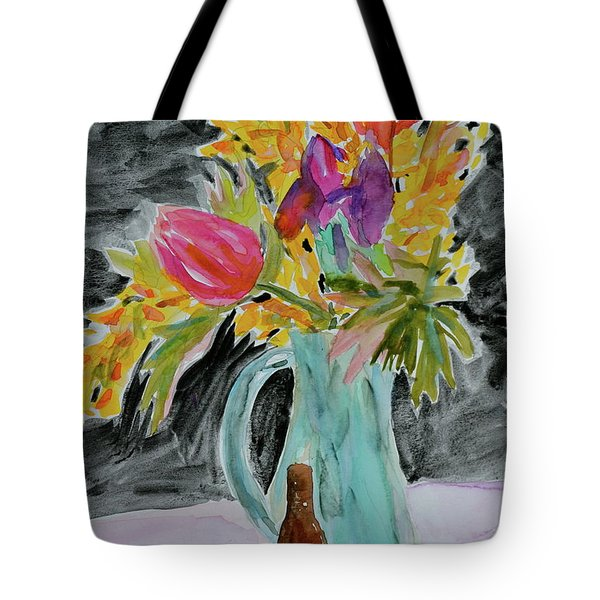 Tote Bag featuring the painting Bursting Bouquet by Beverley Harper Tinsley