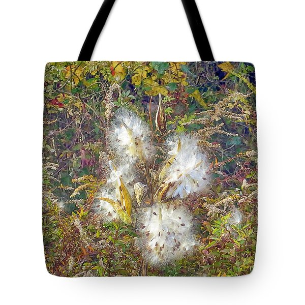 Tote Bag featuring the photograph Bursting Milkweed Seed Pods by Constantine Gregory