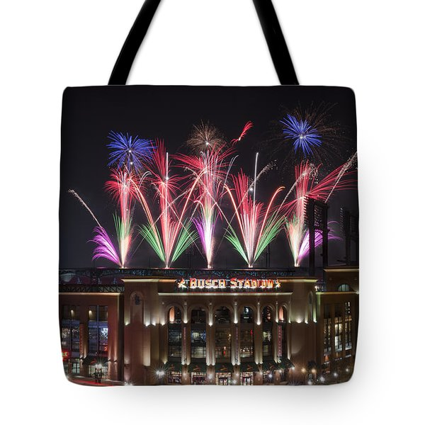 Tote Bag featuring the photograph Busch Stadium by Andrea Silies