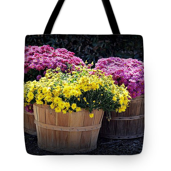 Tote Bag featuring the photograph Bushels Of Fall Flowers by AJ Schibig