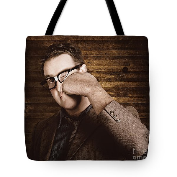 Business Man Under Stress Punching A System Reboot Tote Bag