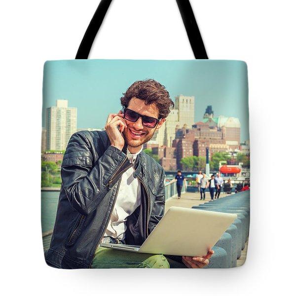 Businessman Enjoying Working Outside Tote Bag