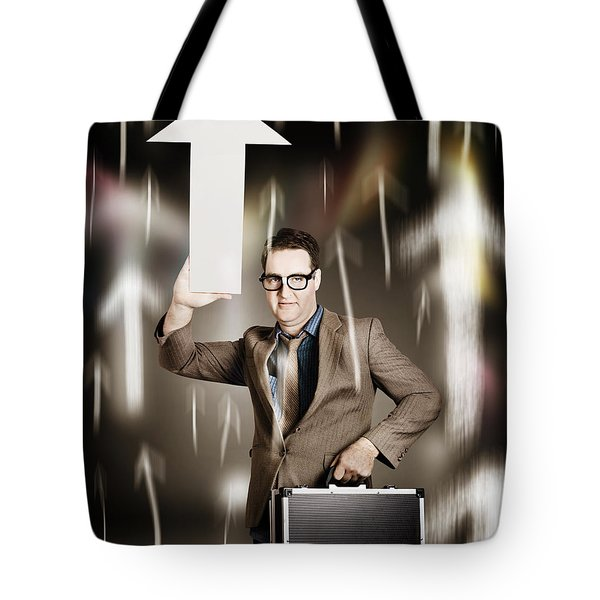 Businessman Pointing Up With White Arrow Symbol Tote Bag
