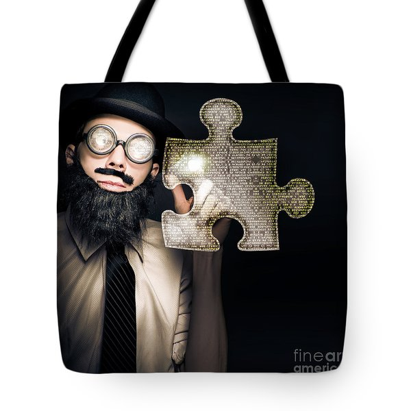 Businessman Puzzle Solving With Digital Solutions Tote Bag