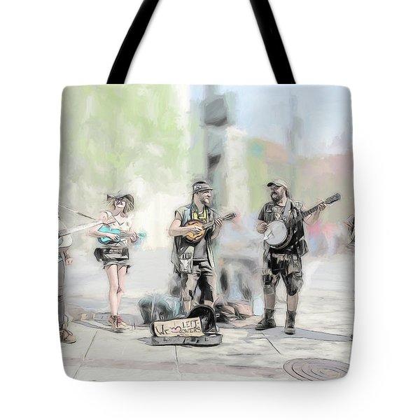 Busker Quintet Tote Bag by John Haldane