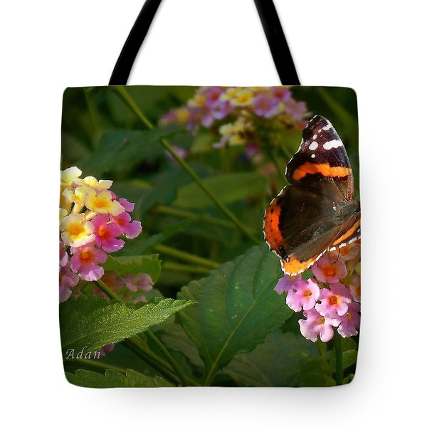 Tote Bag featuring the photograph Busy Butterfly Side 1 by Felipe Adan Lerma
