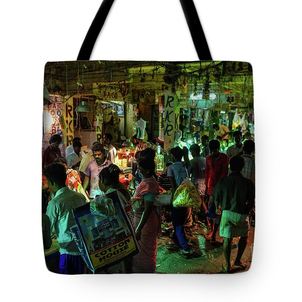 Tote Bag featuring the photograph Busy Chennai India Flower Market by Mike Reid