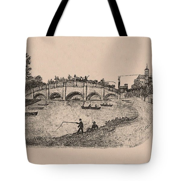 Busy Richmond Bridge And Fishermen Tote Bag