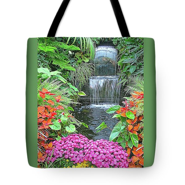 Butchart Gardens Waterfall Tote Bag