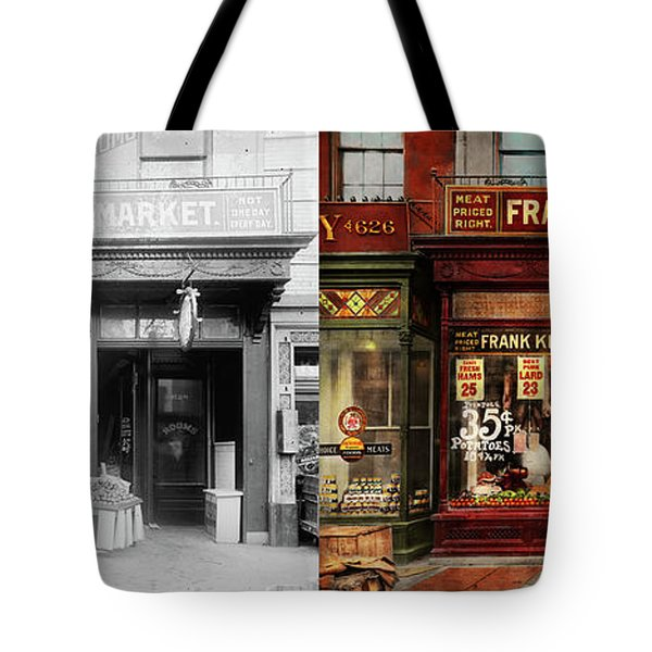 Butcher - Meat Priced Right 1916 - Side By Side Tote Bag by Mike Savad