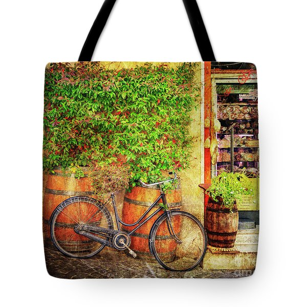 Tote Bag featuring the photograph Butcher Shop Bicycle by Craig J Satterlee