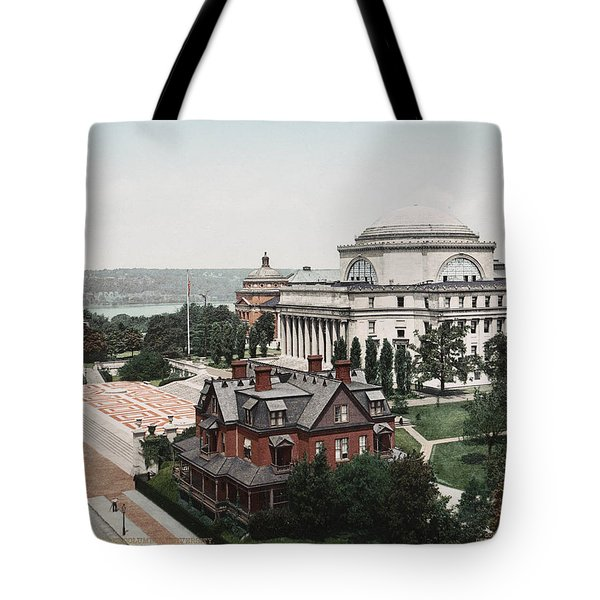 Tote Bag featuring the painting Butler Library At Columbia University by Artistic Panda
