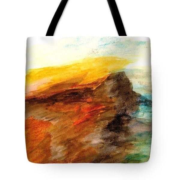 Tote Bag featuring the painting Butte At Sunset by Fred Wilson
