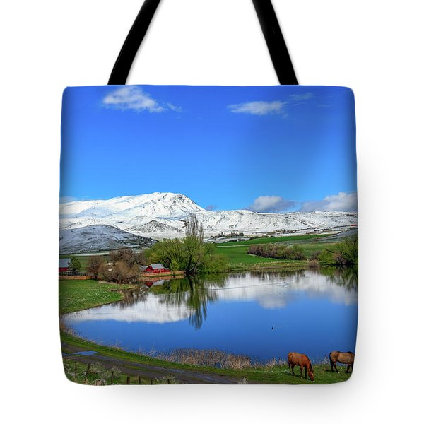 Tote Bag featuring the photograph Butte Farm After Spring Snow by Robert Bales