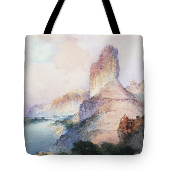 Butte Green River Wyoming Tote Bag by Thomas Moran