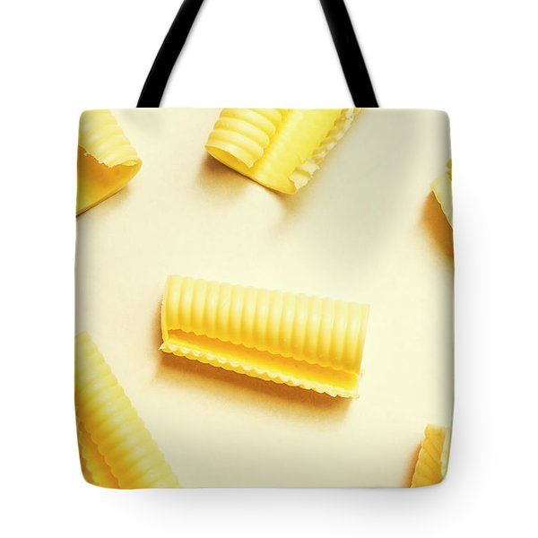 Butter Curls On White Background Tote Bag