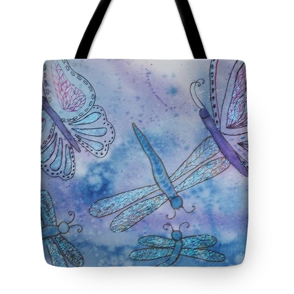 Tote Bag featuring the painting Butterflies And Dragonflies by Ellen Levinson
