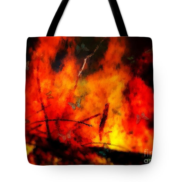 Butterflies And Flame Tote Bag