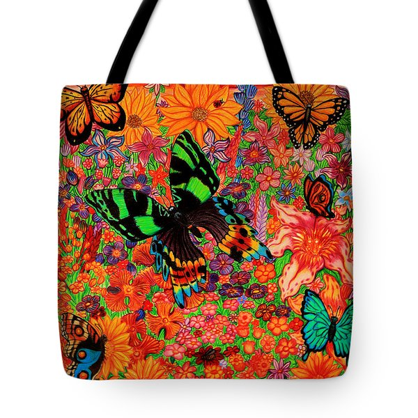 Butterflies And Flowers Tote Bag by Nick Gustafson