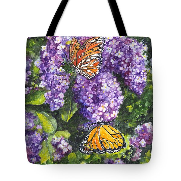 Butterflies And Lilacs Tote Bag by Carol Wisniewski