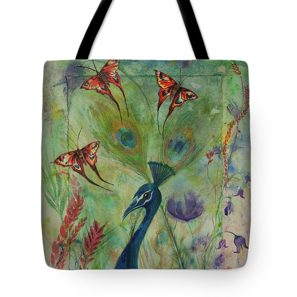 Butterflies And Peacock Tote Bag
