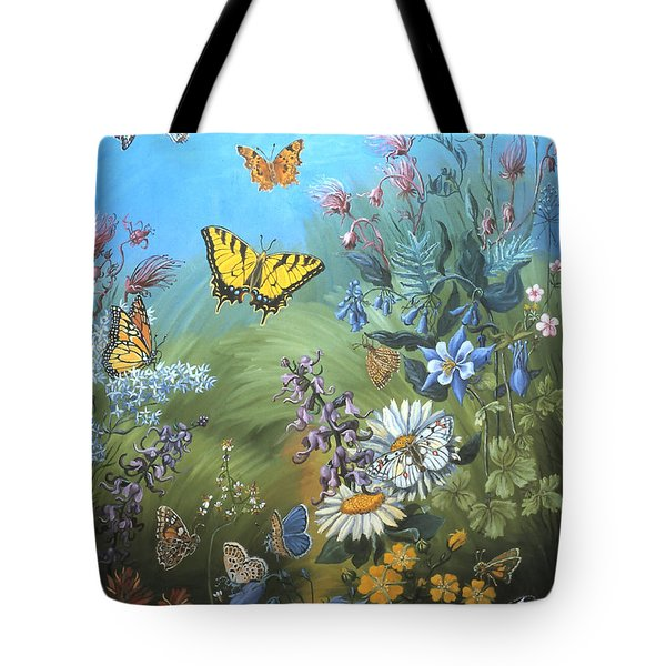 Butterflies And Wildflowers Of Wyoming Tote Bag by Dawn Senior-Trask