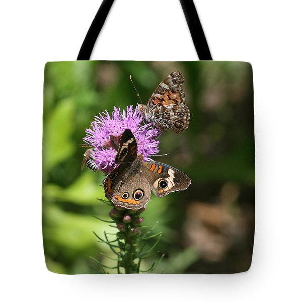 Butterflies And Purple Flower Tote Bag by Cathy Harper