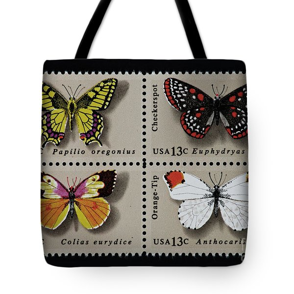 Butterflies Postage Stamp Print Tote Bag by Andy Prendy