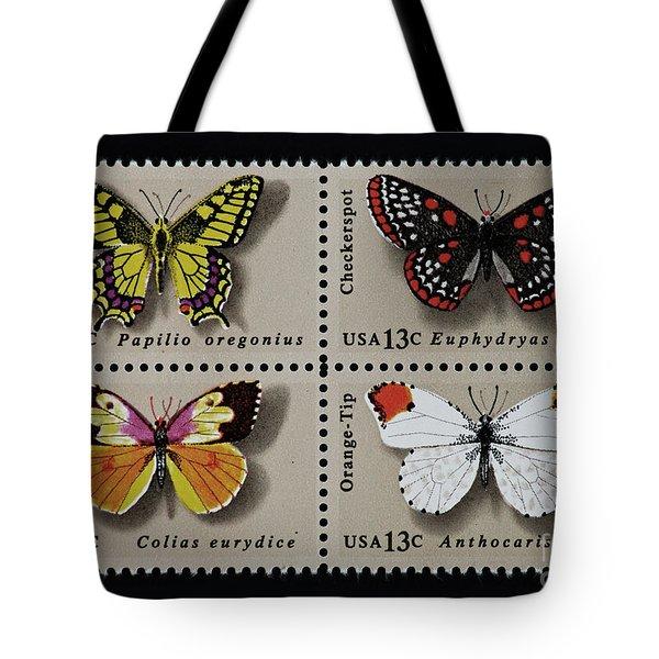 Butterflies Postage Stamp Print Tote Bag