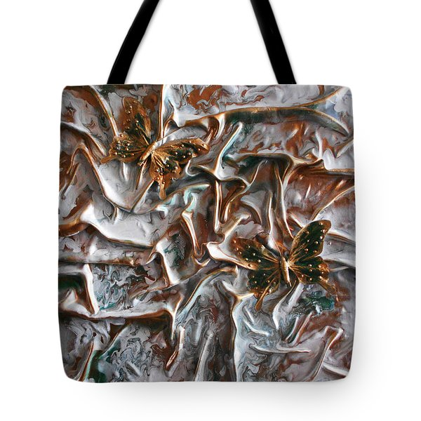 Tote Bag featuring the mixed media Butterflies Reincarnated by Angela Stout